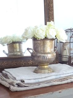 ♕ fresh, white roses in an old silver ice bucket ~ lovely