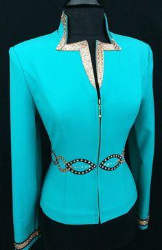 Turquoise, Brown and Black Jacket by Dry Creek Designs ~ Ladies Medium – Just Peachy