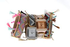 French jeweller Poiray has teamed up with Hipanema, a brand that makes Brazilian-style bracelets with metal clasps, for a collaborative collection. Haute Couture Brands, Bracelet Making, Bracelet Watch, Bijoux Diy, Colorful Bracelets, Dandy, Chanel Boy Bag, Fashion Bracelets, Fashion Watches