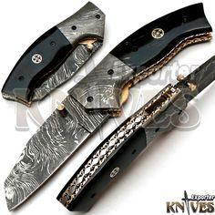 Knives Exporter New Custom Made Damascus Steel Folding Knife, Horn Handle KE-F77 #KnivesExporter