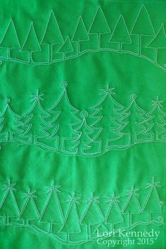 Evergreen-A Free Motion Quilt Tutorial - Lori Kennedy Quilts Quilting Stencils, Quilting Templates, Longarm Quilting, Quilting Ideas, Hand Quilting, Free Motion Embroidery, Free Motion Quilting, Machine Quilting Patterns, Quilt Patterns