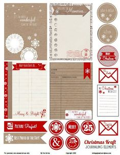 from Vintage Glam Studio, Christmas kraft Journaling elements tags and trims just right for December Daily or Project Life pages Project Life Scrapbook, Project Life Cards, Project Life Freebies, December Daily, Pocket Scrapbooking, Scrapbook Pages, Vintage Glam, Illustration Noel, Tampons
