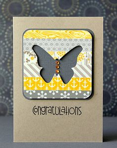 handmade greeting card ... kraft base ... rounded corner square main panel with strips of washi/patterned paper ... negative space butterfly with deep gray background ... clean lines ... great card!!