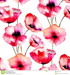 Seamless pattern with Red Poppy flowers watercolor illustration Stock Illustration Watercolor Poppies, Watercolor Images, Red Poppies, Watercolor Background, Poppy Flowers, Illustration Blume, Pattern Illustration, Watercolor Illustration, Poppy Music