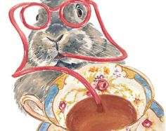 Rabbit Watercolor Painting PRINT Book Cover by WaterInMyPaint