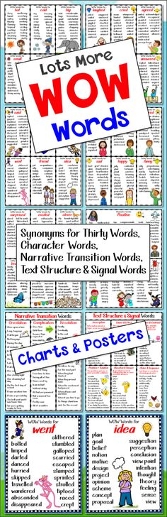 POSTERS AND CHARTS for 30 WOW Words, Character Words, Narrative Transition and Text Structure Signal Words at Clever Chameleon TPT