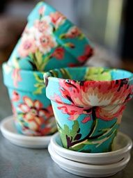 fabric and modge podge.... Utensil holders, makeup brush holders, .... So many ideas