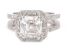 14k white gold Asscher cut diamond engagement ring art deco 2.10ctw