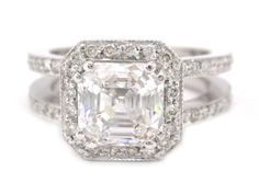 14k white gold Asscher cut diamond engagement ring art deco 2.10ctw