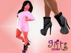 [GIFTS HOME] High Heel Boots Mesh Black
