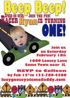 Car Race Car Birthday Invitation by RobinsFlightDesigns on Etsy, $15.00