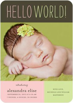 Handwritten Hello - Girl Photo Birth Announcements - simplyput by Ashley Woodman - Soft Pink #baby #TopPin