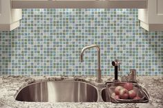 Tile backsplash with wallpaper instead brilliant and money saving kitchen decor idea! Very pretty turquoise tile wallpaper Kitchen Wallpaper | Kitchen Wallpaper Ideas | Kitchen Wall Paper