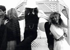 John McVie and Stevie Nicks fool around during the Tusk fotoshoot