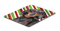 Dachshund Candy Cane Holiday Christmas Mouse Pad, Hot Pad or Trivet