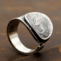 Men's Sterling Silver Buffalo Coin Wrap Ring - Jewelry1000.com Mens Silver Jewelry, Sterling Silver Jewelry, Silver Eagles, Silver Man, Buffalo, Coins, Rings For Men, Rings, Men Rings