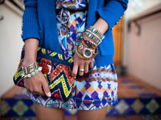 tribal patterned romper, tribal patterned clutch, cardigan, accessories
