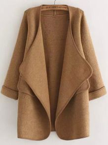 Khaki Long Sleeve Stitch Pocket Loose Cardigan
