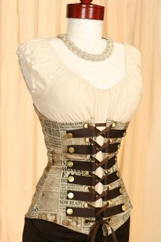 Newspaper Steampunk Button Corset.