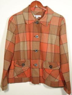 Women's Pendleton Boyfriend Jacket Petite Large Orange Brown Plaid Virgin Wool #Shopping #Style #Fashion http://www.ebay.com/itm/-/271531063135?roken=cUgayN via @eBay