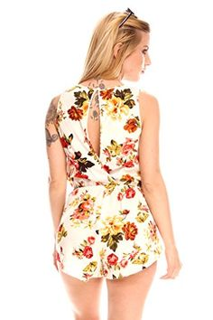 9a8e0d71fd1a Young Aloud Floral Print Sleeveless Scoop Neck Back Button Mid Back Romper  Jumpsuit L ivory