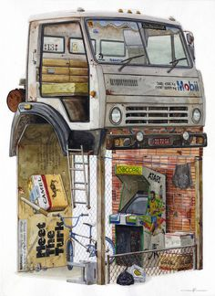 Watercolor Paintings of Imagined Trash Structures Packed With Advertising by Alvaro Naddeo - KOMEX Post Apocalyptic Art, Illustrator, Colossal Art, Apocalypse Survival, Crayon Art, Environment Concept Art, Watercolor Paintings, Dot Painting, Oil Paintings