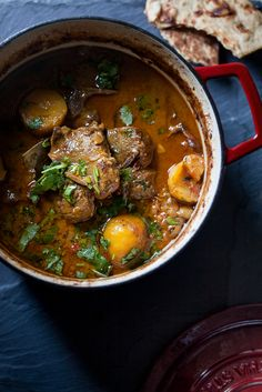 Sinfully Spicy - A Lamb and Potato Stew, slow cooked with yogurt and aromatic Indian spices. Lamb Recipes, Slow Cooker Recipes, Indian Food Recipes, Crockpot Recipes, Soup Recipes, Great Recipes, Cooking Recipes, Favorite Recipes, Healthy Recipes