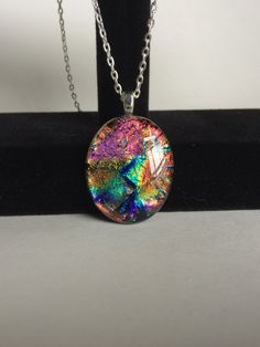 Multicolored Oval Dichroic glass Pendant by starlingstudiosix on Etsy