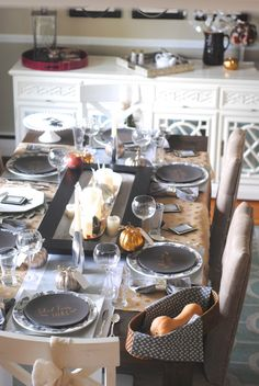 Mixed metallic Thanksgiving tablescape