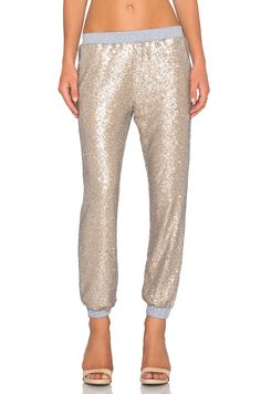 Lucy Paris Sequin Jogger Pant in Gold | REVOLVE