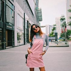 Pink Overall Dress spotted in Malaysia // @natalieisasleep