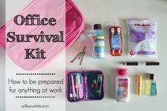 Survival Kit at Office Survival Kit, New Job Survival Kit, Survival Kit Gifts, Survival Supplies, Survival Tips, Survival Skills, Office Kit, Office Inspo, Office Desk