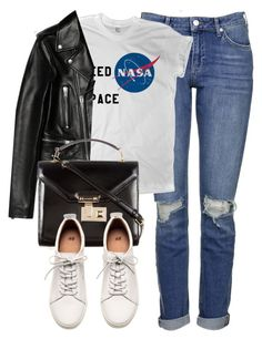 """""""Untitled #5440"""" by laurenmboot ❤ liked on Polyvore featuring Topshop, Yves Saint Laurent, Rebecca Minkoff and H&M"""