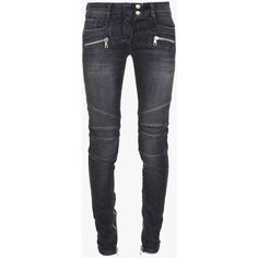Balmain - Low-rise stretch cotton-denim biker jeans - Women's pants ($1,420) ❤ liked on Polyvore featuring jeans, pants, bottoms, skinny jeans, trousers, skinny fit jeans, biker jeans, skinny leg jeans and cut skinny jeans