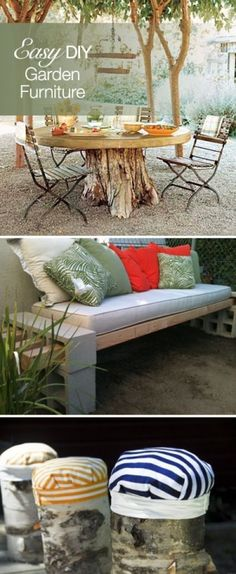 Easy DIY Furniture Projects...OMW!  The tree trunk table base!!