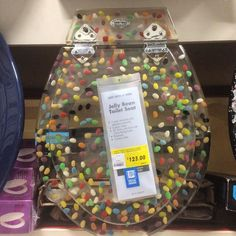 Clear Jelly Bean Toilet Seat at Bunnings! Watch your poo go down the loo #clear #jellybean #toiletseat #Bunnings #poo #loo