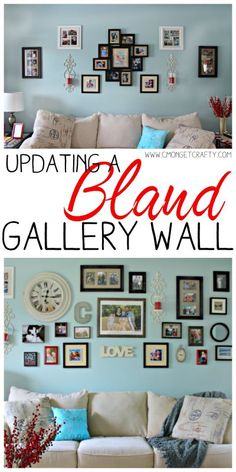 Tips for Updating a Bland Gallery Wall {Monthly Crafty De-Stash Challenge} via Gallery Wall, Home Diy, Diy Home Decor Bedroom, Wall Decor, Diy Home Decor Projects, Gallery Wall Inspiration, Diy Home Decor, Wall Design, Diy On A Budget