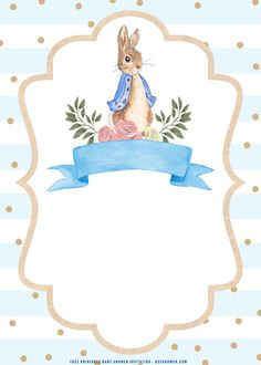 (FREE Printable) – Watercolor Peter The Rabbit Baby Shower Invitation Templates Free Baby Shower Printables, Printable Baby Shower Invitations, Templates Printable Free, Peter Rabbit Nursery, Peter Rabbit Party, Coelho Peter, Baby Shower Invitaciones, Cute Frames, Rabbit Baby