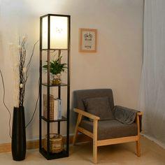 Modern LED Decorative Wooden Loft Floor Lamp Black White Standing Lamp - All For Decoration Wooden Floor Lamps, Floor Lamp With Shelves, Box Shelves, Wood Floor, Bamboo Floor, Bookshelf Storage, Cool Floor Lamps, Floor Lamp Shades, White Floor Lamp