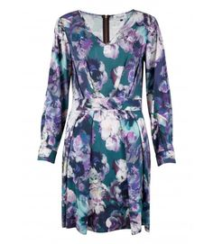 Closet Purple Floral V-Neck Long Sleeve Dress - Enchanted Nights - Collections
