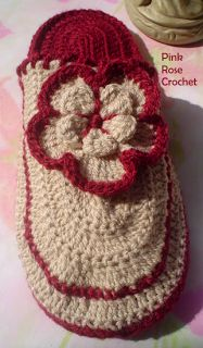 PINK ROSE CROCHET : Pantufas Chinelos PAP com Receita