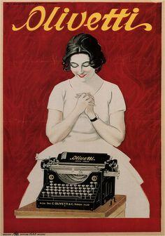 Publicidad vintage . Maquina de escribir Olivetti , 1921 . Lo que vendria despues , es otra historia . . .