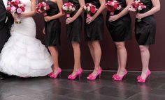 Could do that black dresses with pink shoes and flowers