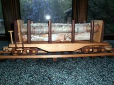 Log carrier train car wooden collectible by wisconsinwoodchuck
