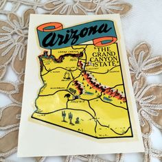 #Arizona #Vintage Travel #Luggage Sticker Water Based Decal NIP Grand Canyon State