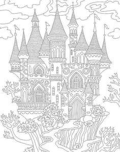 Fabulous Castle coloring page. Animal Coloring Pages, Coloring Book Pages, Coloring Sheets, Colorful Drawings, Colorful Pictures, Castle Coloring Page, Free Adult Coloring, Free Printable Coloring Pages, Art Lessons