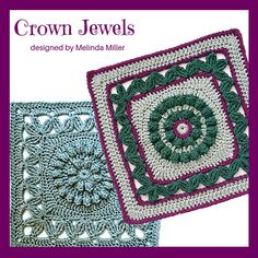 Ravelry: Crown Jewels Afghan Square pattern by Melinda Miller Granny Square Crochet Pattern, Crochet Diagram, Crochet Squares, Crochet Blanket Patterns, Granny Squares, Crochet Blankets, Crochet Blocks, Crochet Afghans, Crochet Granny