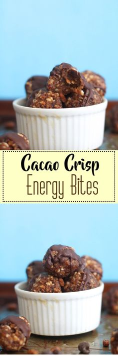 This cacao crisp energy bites are vegan, gluten free, full of crunch, and packed with flavor. They make for such a great and easy energy snack that are packed with nutrients!