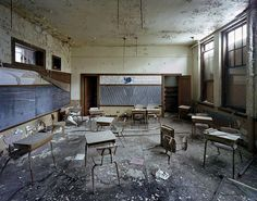 Teachers and students  Filed through the open doorway  Learning went on here
