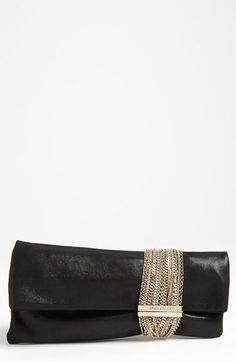 $1,295, Black and Gold Leather Clutch: Jimmy Choo Chandra Leather Clutch Black. Sold by Nordstrom. Click for more info: https://lookastic.com/women/shop_items/96927/redirect